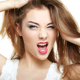 Beauty woman face. Young girl smiling Royalty Free Stock Photos