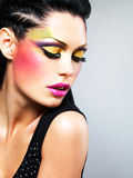 Beauty  woman with fashion makeup on  face Stock Photos