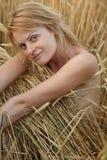 Beauty woman on field Royalty Free Stock Photo