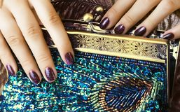 Beauty woman fingers holding luxury bag Royalty Free Stock Images