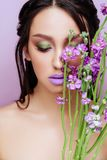 Beauty woman with floral crown magenta orchid flowers stock images