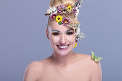 Beauty woman with floral make up Stock Image