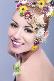 Beauty woman with floral wreath Royalty Free Stock Photos