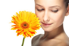 Beauty woman with flower Royalty Free Stock Images