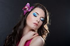 Beauty woman with flower Royalty Free Stock Photography