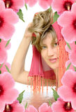 Beauty woman in flower frame Stock Images