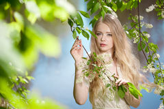 Beauty woman and flower garden Stock Image