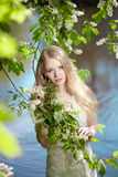 Beauty woman and flower garden Stock Photo