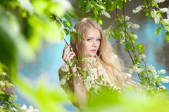 Beauty woman and flower garden Royalty Free Stock Image