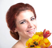 Beauty Woman with Flower Stock Photography