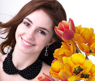 Beauty Woman with Flower Stock Images