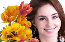 Beauty Woman with Flower Royalty Free Stock Photo