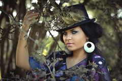 Beauty, Woman, Flowered Hat, Cap Stock Photos