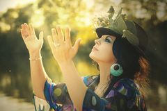 Beauty, Woman, Flowered Hat, Cap Royalty Free Stock Image