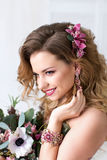 Beauty woman with Flowers. Stock Image