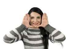 Happy woman framing face Royalty Free Stock Images
