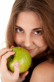 Beauty woman with fresh green apple. On white background Stock Photos
