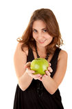 Beauty woman with fresh green apple Royalty Free Stock Photos