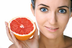 Beauty woman with fruit Stock Photos