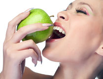 Beauty woman with fruit Stock Photography