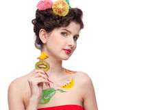 Beauty woman with fruit bodyart and fruit c Stock Photography