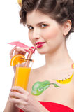 Beauty woman with fruit bodyart and juice Stock Images