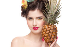 Beauty woman with fruit bodyart and pineapp Royalty Free Stock Images