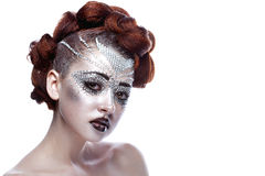 Beauty woman in futuristic makeup Stock Images