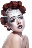 Beauty woman in futuristic makeup Stock Image