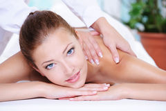 Beauty woman getting relaxation in  spa salon Stock Photography