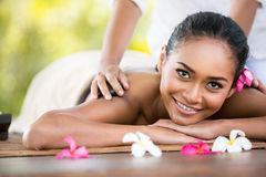 Beauty woman getting relaxation in spa salon. Beauty smiling woman getting relaxation in spa salon royalty free stock photo