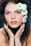Beauty woman glamour portrait makeup and flowers. Beauty woman glamour portrait, makeup presentation, white flowers, studio shot on dark background Stock Photography