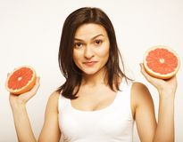 Beauty woman with grapefruit isolated Stock Photos