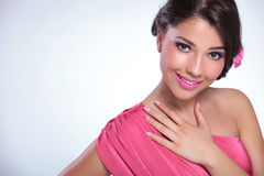 Beauty woman with hand on her chest Stock Images