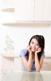 Beauty woman happy smile face with home background Stock Photo
