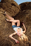 Beauty woman in hay Royalty Free Stock Image