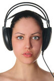 Beauty woman in headphones Stock Images