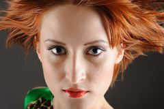 Beauty woman with healthy red flying hair Royalty Free Stock Images