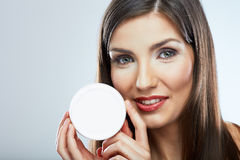 Beauty woman hold face cream Royalty Free Stock Photos