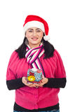 Beauty woman holding Christmas gift Royalty Free Stock Photography