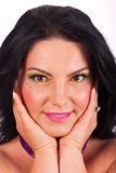 Beauty woman holding face in hands Royalty Free Stock Images