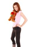 Beauty woman holding teddy bear. Stock Image
