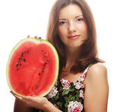 Beauty woman holding watermelon in her hand Stock Image