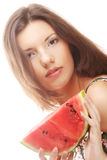 Beauty woman holding watermelon in her hand Stock Photos
