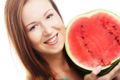 Beauty woman holding watermelon in her hand Royalty Free Stock Image