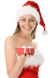 Beauty Woman In Santa Hat With Present Stock Photo