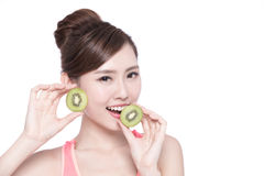 Beauty woman and Kiwi fruit Royalty Free Stock Photos
