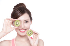 Beauty woman and Kiwi fruit Stock Images