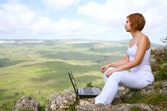 Beauty woman with laptop Royalty Free Stock Photos