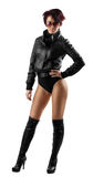 Beauty woman in leather Royalty Free Stock Photography